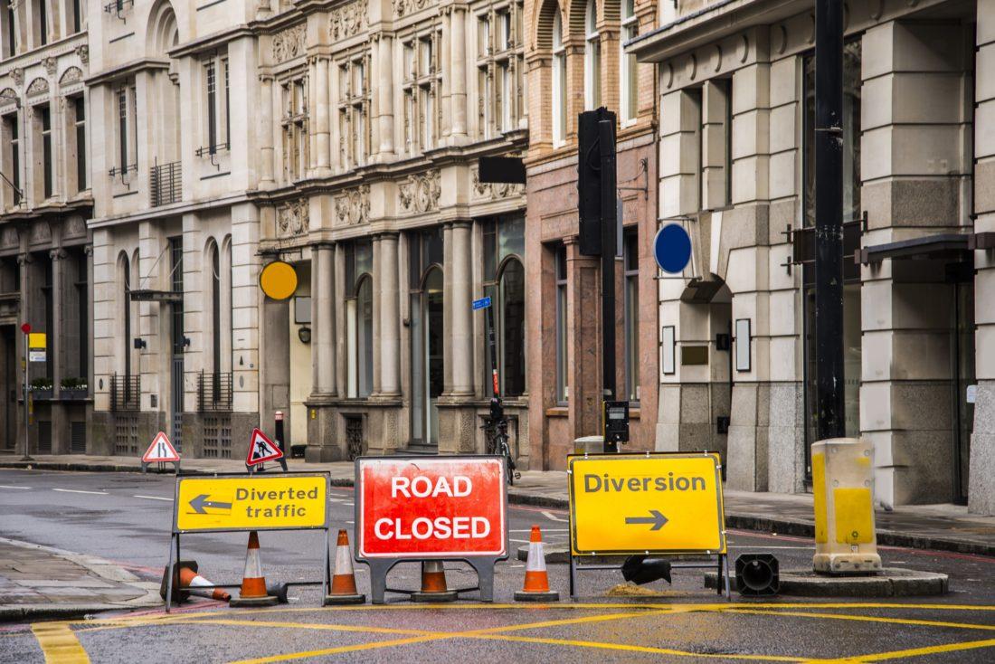 A closed street in London, UK.